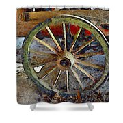 Wine Wagon Wheel Shower Curtain