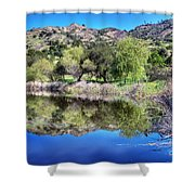 Winery Pond Reflections Shower Curtain
