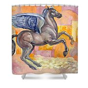 Winged Horse Shower Curtain