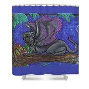 Winged Panther Kitten Cub Shower Curtain