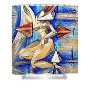 Winged Space Shower Curtain