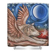 Winged Wolf In Downward Dog Yoga Pose Shower Curtain