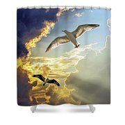 Wings Against The Storm Shower Curtain