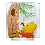 Winnie The Pooh And His Lunch Shower Curtain