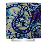 Winning Blue Country Tokens Shower Curtain