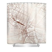 Winnipeg Street Map Colorful Copper Modern Minimalist Shower Curtain