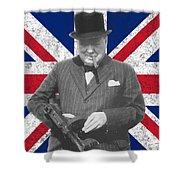 Winston Churchill And Flag Shower Curtain