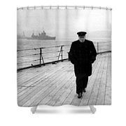 Winston Churchill At Sea Shower Curtain by War Is Hell Store