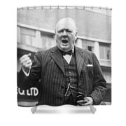 Winston Churchill Campaigning - 1945 Shower Curtain