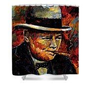 Winston Churchill Portrait Shower Curtain