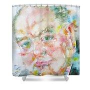 Winston Churchill - Watercolor Portrait.4 Shower Curtain