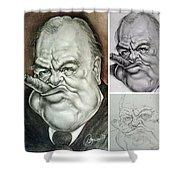 Winston Churchill's Caricature Shower Curtain