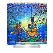 Winter And The Tug Boat 2 Shower Curtain