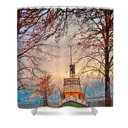 Winter And The Tug Boat Shower Curtain