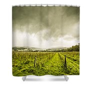 Winter Apple Orchard Shower Curtain