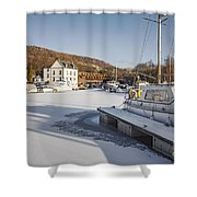 Winter At Bowling Harbour Shower Curtain