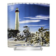 Winter At Cape May Light Shower Curtain