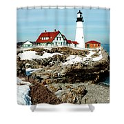Winter At Portland Head Shower Curtain