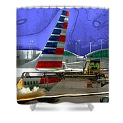 Winter At The Airport Shower Curtain