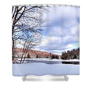 Winter At The Dam Shower Curtain