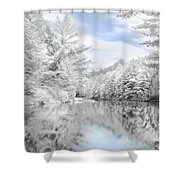 Winter At The Reservoir Shower Curtain by Lori Deiter