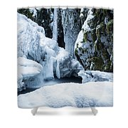 Winter At Virgin Creek Falls Shower Curtain