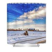Winter Barn 3 - Paint Shower Curtain