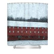 Winter Barn In Oil Shower Curtain