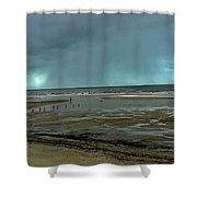 Winter Beach Shower Curtain by Debbie Cundy