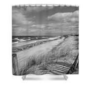 Winter Beach View - Black And White Shower Curtain