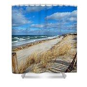 Winter Beach View Shower Curtain