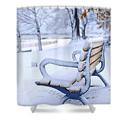 Winter Bench Shower Curtain