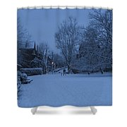 Winter Blue Britain Shower Curtain