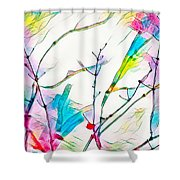 Winter Branch Colors Shower Curtain