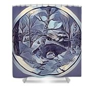 Winter Bridge In Blue Shower Curtain