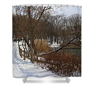 Winter By The Lake Shower Curtain