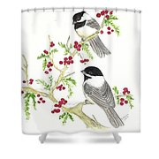 Winter Chickadees And Berries Shower Curtain