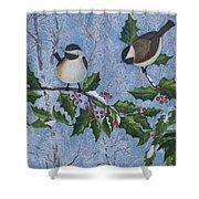 Winter Chickadees Shower Curtain