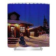 Winter Christmas Evening Lights Shower Curtain