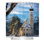 Winter Church In Bavaria Shower Curtain
