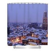 Winter Cityscape Of Utrecht In The Evening 14 Shower Curtain