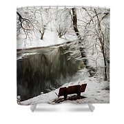 Winter Contemplation Watercolor Painting Shower Curtain