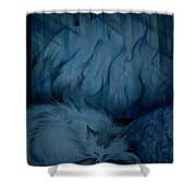 Winter Day Napping Shower Curtain