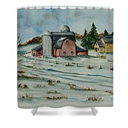 Winter Down On The Farm Shower Curtain by Charlotte Blanchard