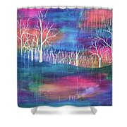 Winter Embraces Spring Shower Curtain