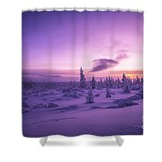 Winter Evening Landscape With Forest, Sunset And Cloudy Sky.  Shower Curtain
