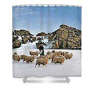Winter Feed Almscliff Crag. Shower Curtain