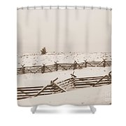 Winter Fence In Oregon Shower Curtain
