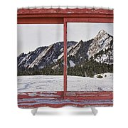 Winter Flatirons Boulder Colorado Red Barn Picture Window Frame  Shower Curtain