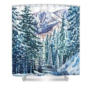 Winter Forest And Mountains Shower Curtain